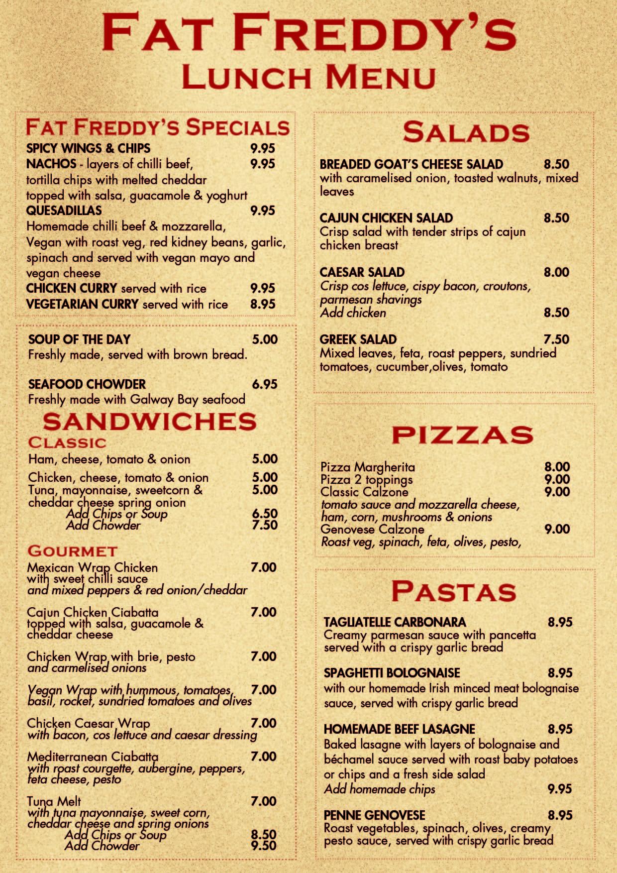 Lunch Galway Fat Freds Restaurant