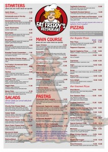 Fat Freddys Menu